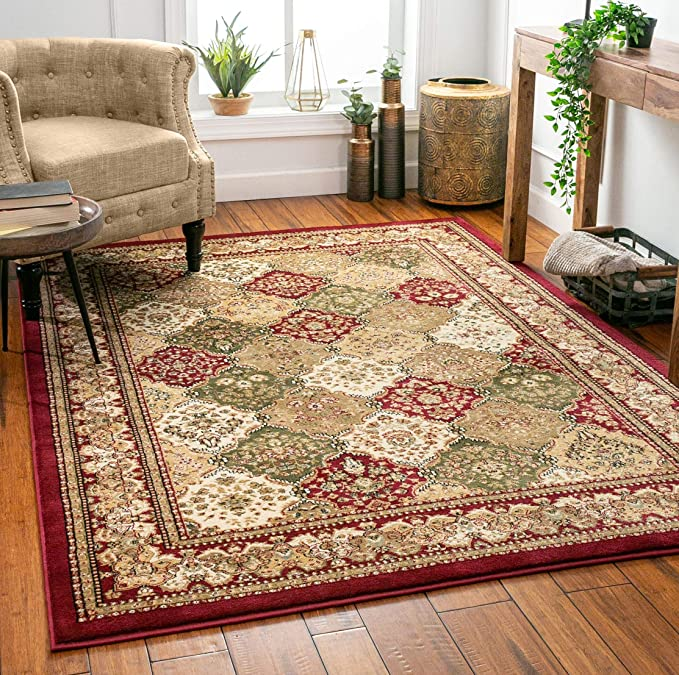 Monarch Panel Multi Color Red Oriental Area Rug Persian Formal Traditional Area Rug 4 X 5 Easy Clean Stain Fade Resistant Shed Free Modern Classic Contemporary Thick Soft Plush Living Dining Room Home Kitchen