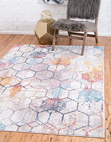 Unique Loom Rainbow Collection Geometric Abstract Trellis Modern Watercolor White Area Rug 10 0 x 13 0