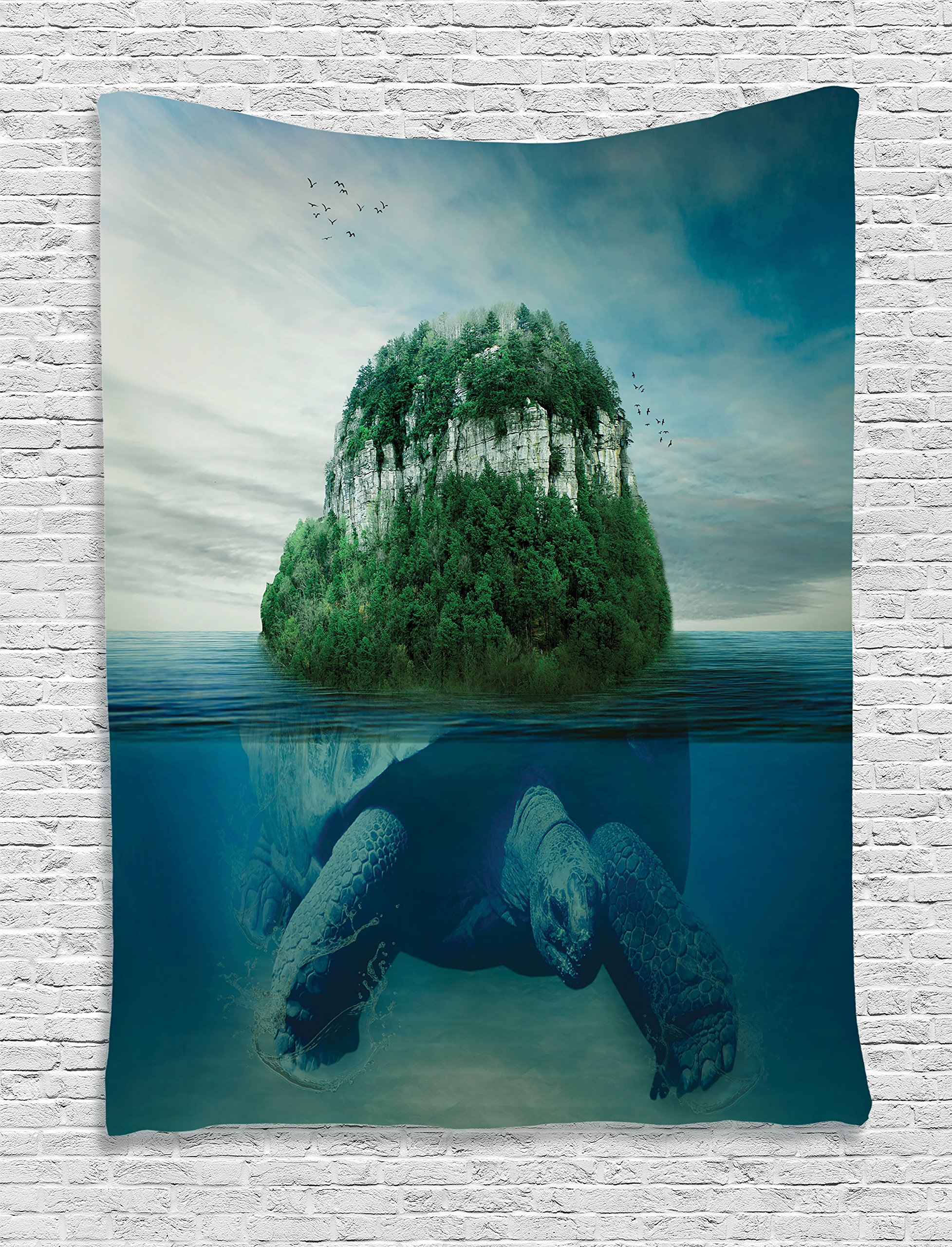 Ambesonne Sea Animals Decor Collection, Giant Turtle Carrying Island on Back Swimming under the Ocean Fantasy Photo Pattern, Bedroom Living Room Dorm Wall Hanging Tapestry, Green Gray