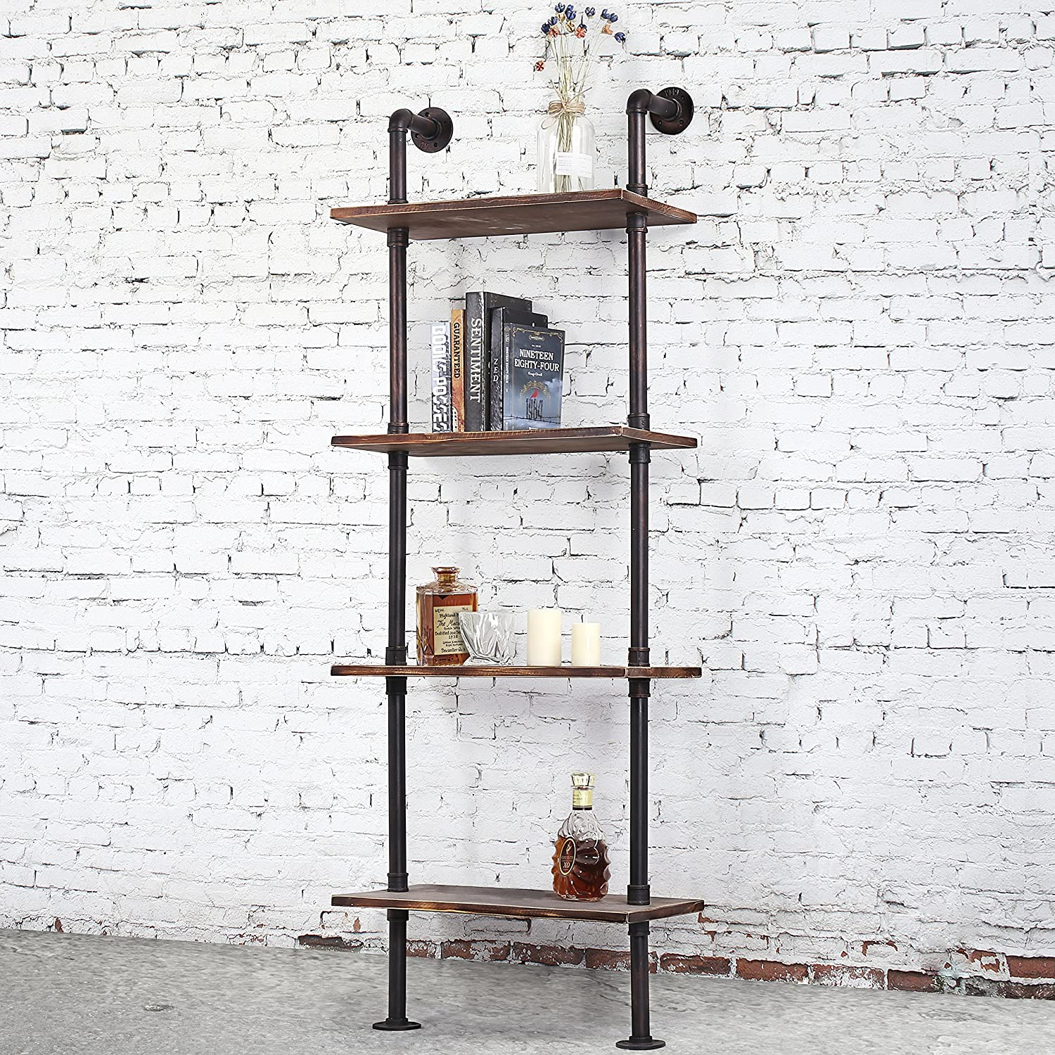 Industrial-Style 4-Tier Leaning Shelf, Ladder Bookshelf with Metal Pipe & Rustic Wood Shelving