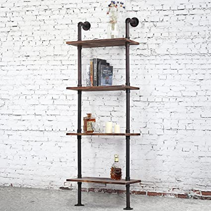 Industrial Style 4 Tier Leaning Shelf Ladder Bookshelf With Metal Pipe Rustic