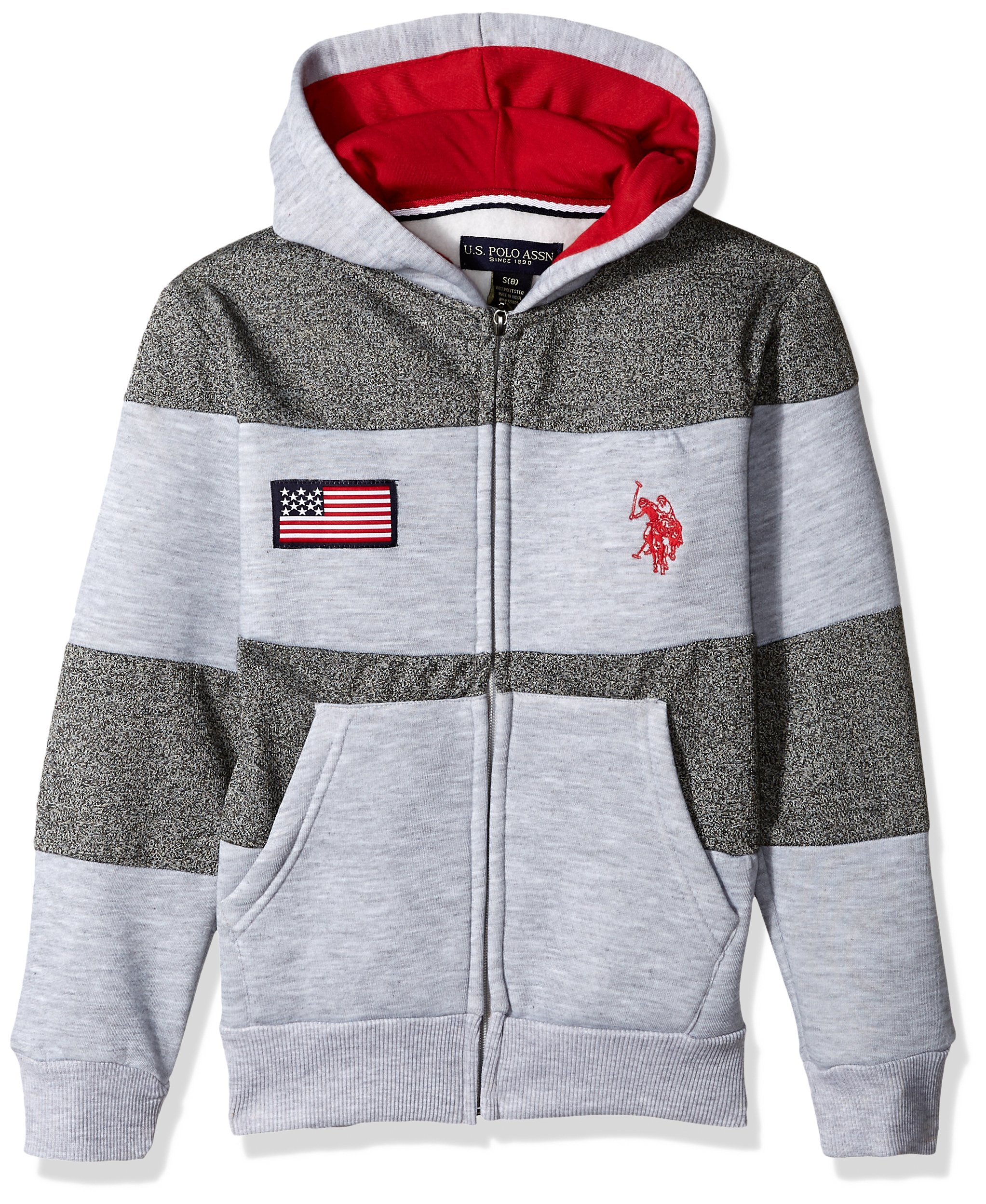 U.S. Polo Assn. Little Boys' Hooded Zip or Snap Fleece Jacket, American Flag Chest Light Heather Gray, 4