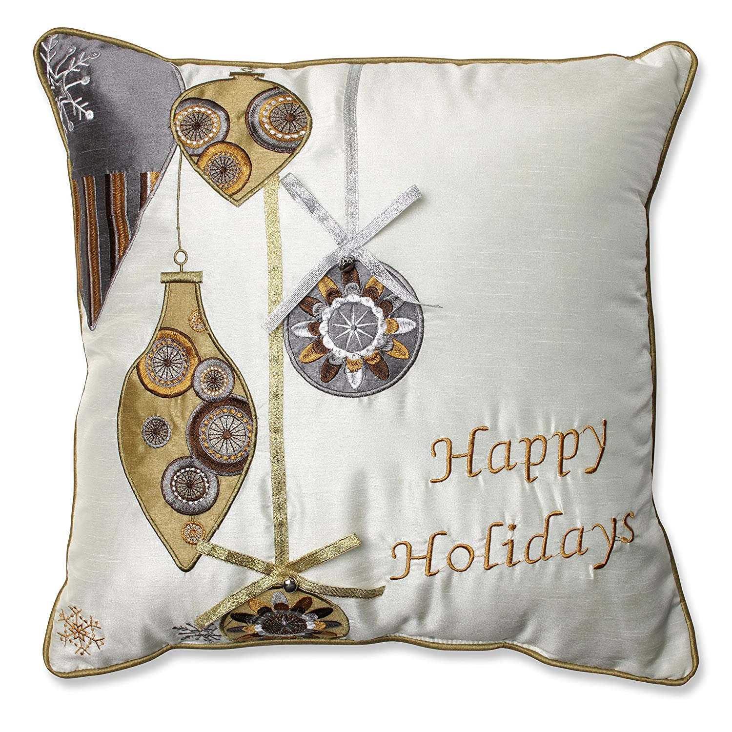 Gold//Silver Inc 16.5-Inch 552927 Pillow Perfect Holiday Ornaments Throw Pillow