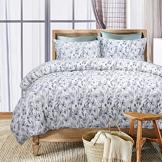 Twin, Stripe 4 FADFAY 3 Pieces Duvet Cover Set White And Grey Striped Bedding Set 100/% Cotton-Hypoallergenic 2 Pillow Shams and Extremely Soft 1 Duvet Cover Breathable