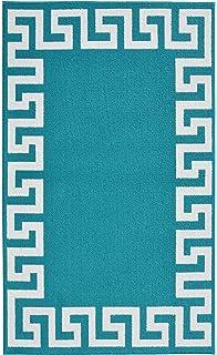 garland rug greek key frame area rug 5 by 7feet teal
