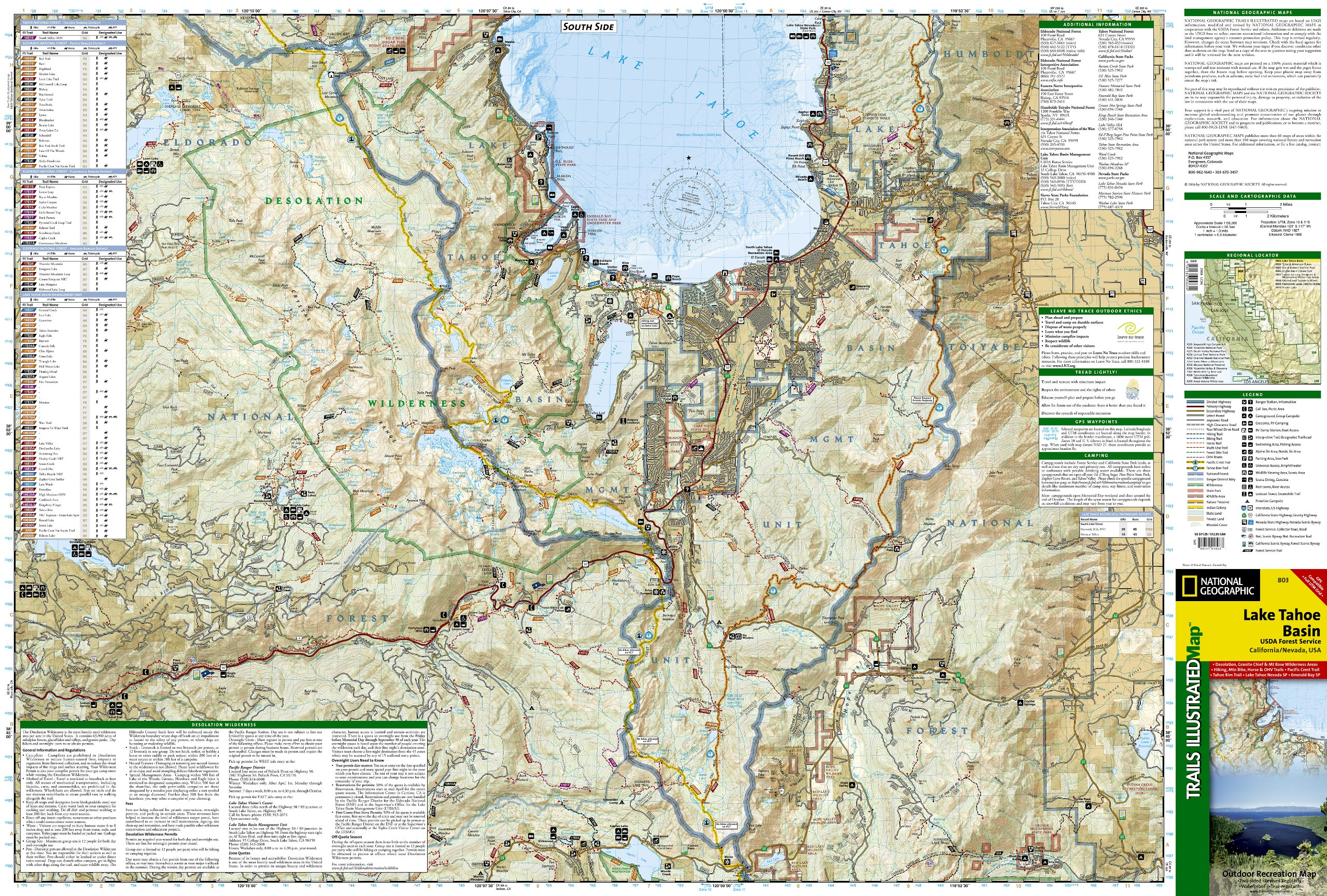 Lake Tahoe Bassin: National Geographic Trails Illustrated ...