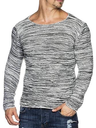 5406bc38cb08 Tazzio Styler Melange Muster Strick-Pullover mit weitem Rundhals-Ausschnitt  16498  Amazon.de  Bekleidung