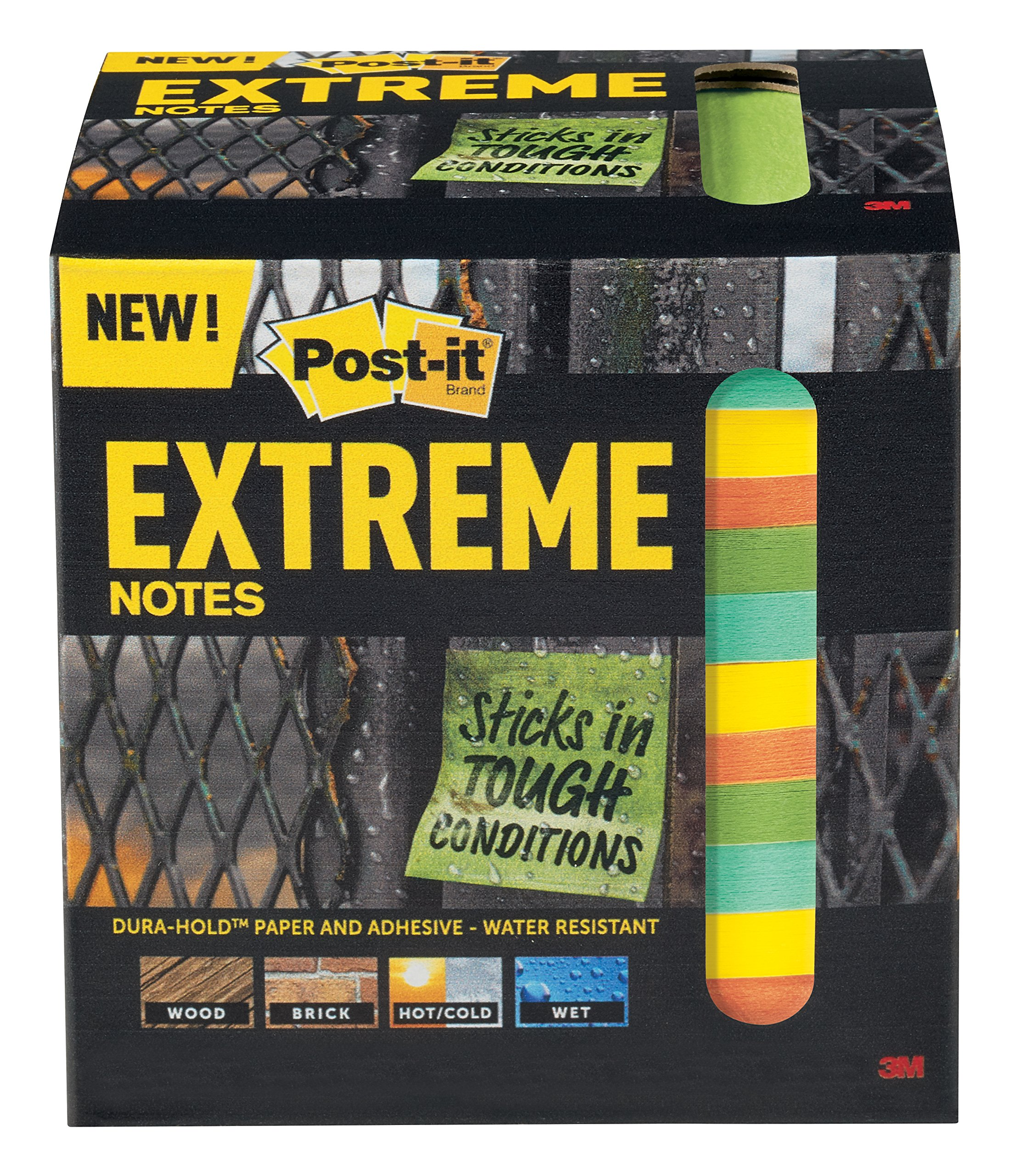 Post-it Extreme Notes, Water Resistant, Made with Dura-Hold Paper and Adhesive, Engineered for Tough Conditions, 12 Pads