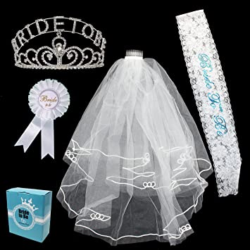 Silver Bride To Be Glitter Tiara Hen Night Party Fancy Dress Accessory