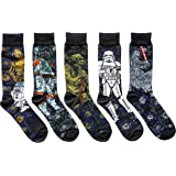 Star Wars Starry Night Themed Men's Crew Socks 5 Pair Pack Shoe Size 6-11
