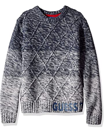 fd443b75773297 GUESS Boys Long Sleeve Ombre Cable Knit Sweater