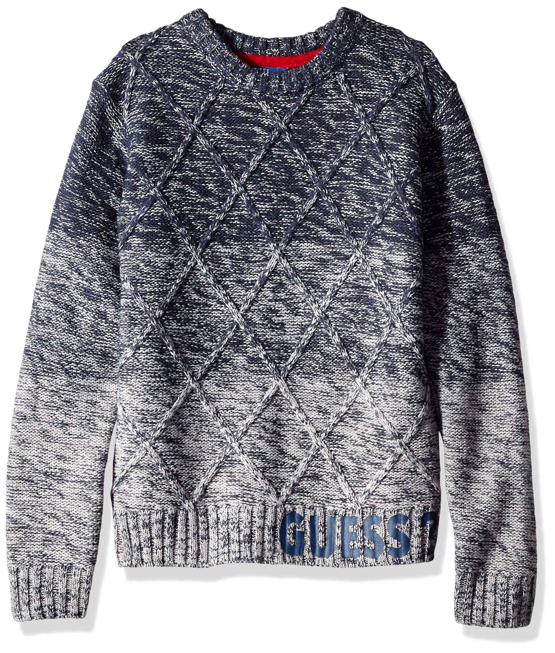 GUESS Boys' Big Long Sleeve Ombre Cable Knit Sweater, Blue Combo, 10