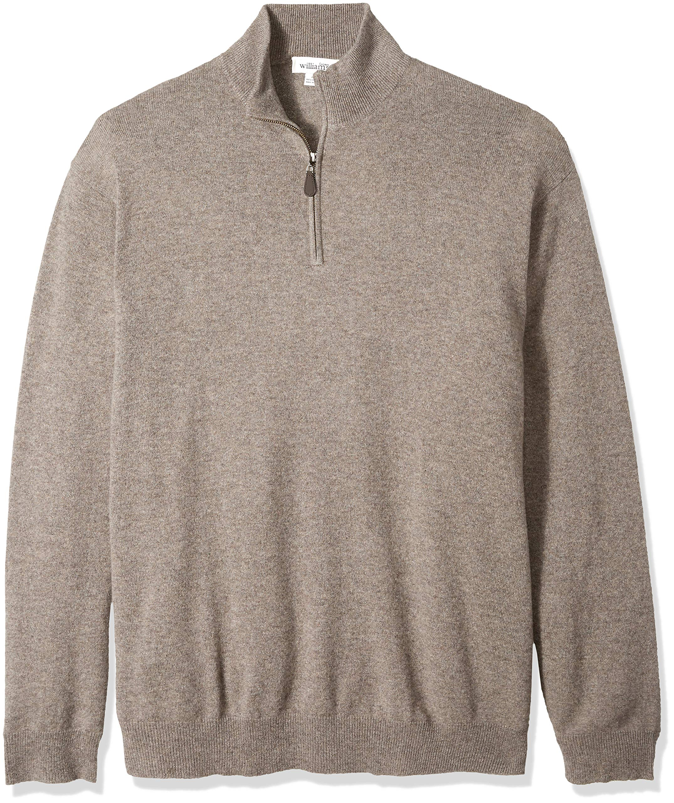 Williams Cashmere Men's Big and Tall 100% Cashmere Mock Neck Pullover Haff Zip Sweater, Fossil XT