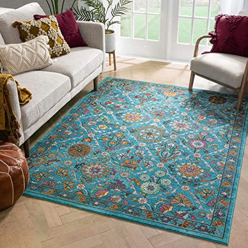 Well Woven Bleecker St Sabra Bohemian Eclectic Floral Decorative Blue 7'10″ x 9'10″ Area Rug