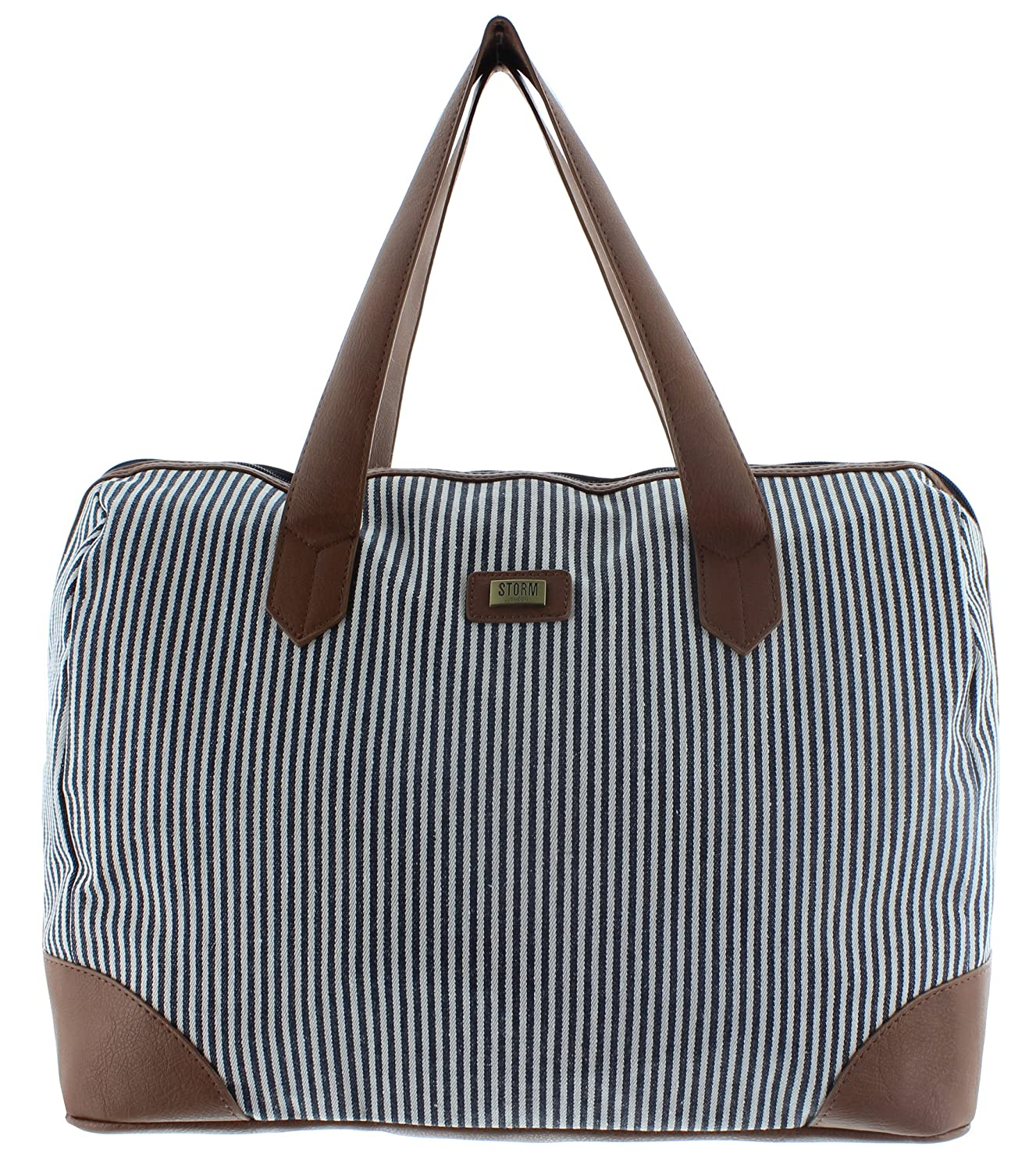 Ladies Geometric Holdalls Weekender Bag Duffel Tote Bag Weekend Travel Bag Handbags with Strips