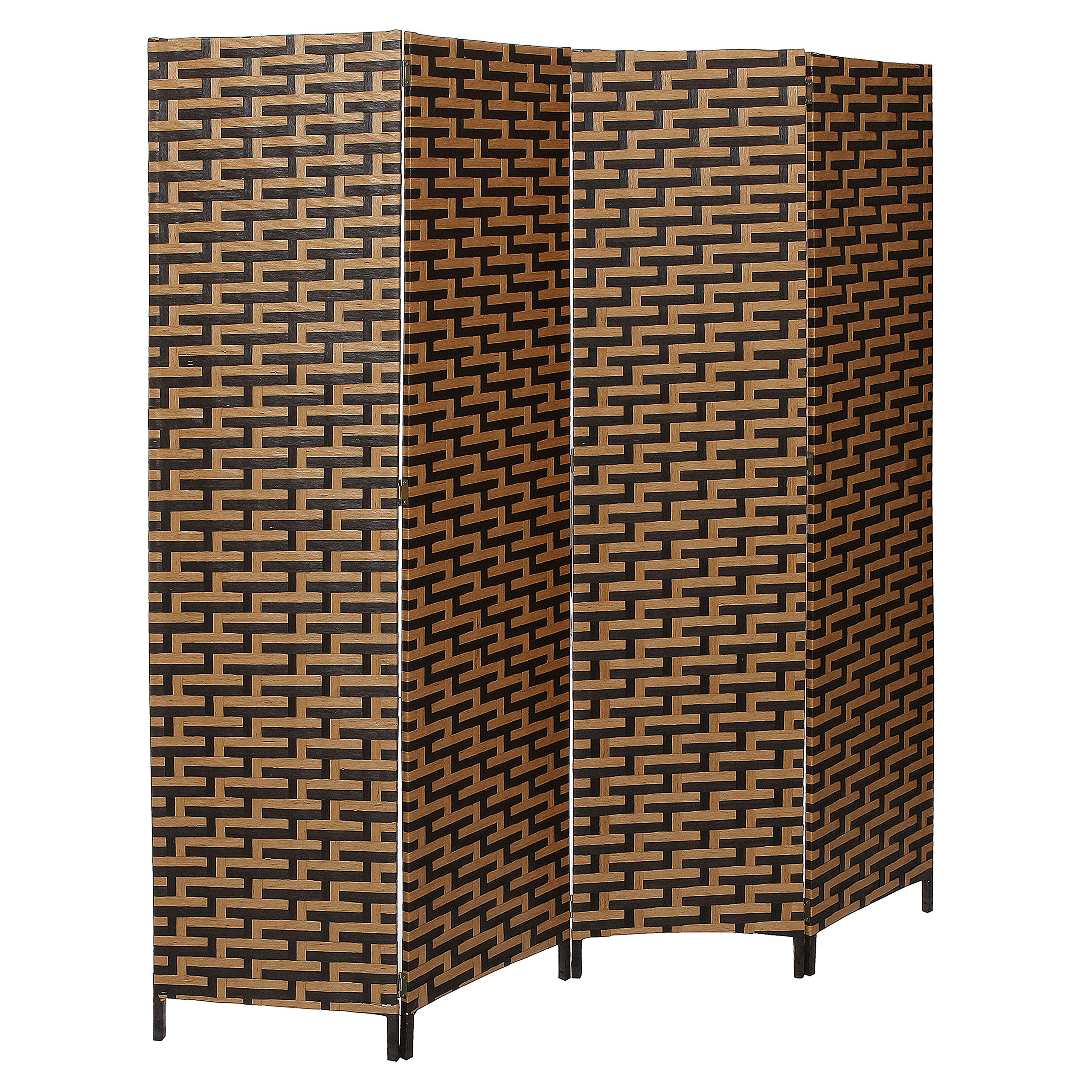 MyGift Decorative Freestanding Black & Brown Woven Design Wood Privacy Room Divider Folding Screen, 4-Panel by MyGift