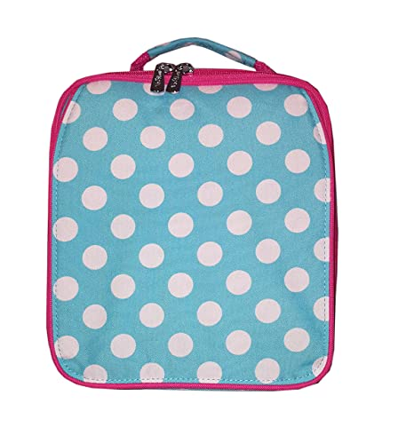 c294abc1ca26 Amazon.com: Viv & Lou Monogrammed Aqua Polka Dot Back to Custom Personalized  Insulated Water Resistant Lunch Bag: Kitchen & Dining