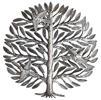family tree haitian drum art metal tree wall decor tree of life - Metal Tree Wall Decor