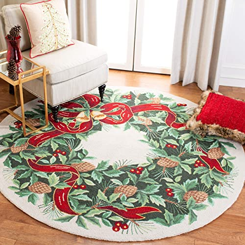 Safavieh Vintage Poster Collection VP323B Ivory and Green 6 Round Area Rug