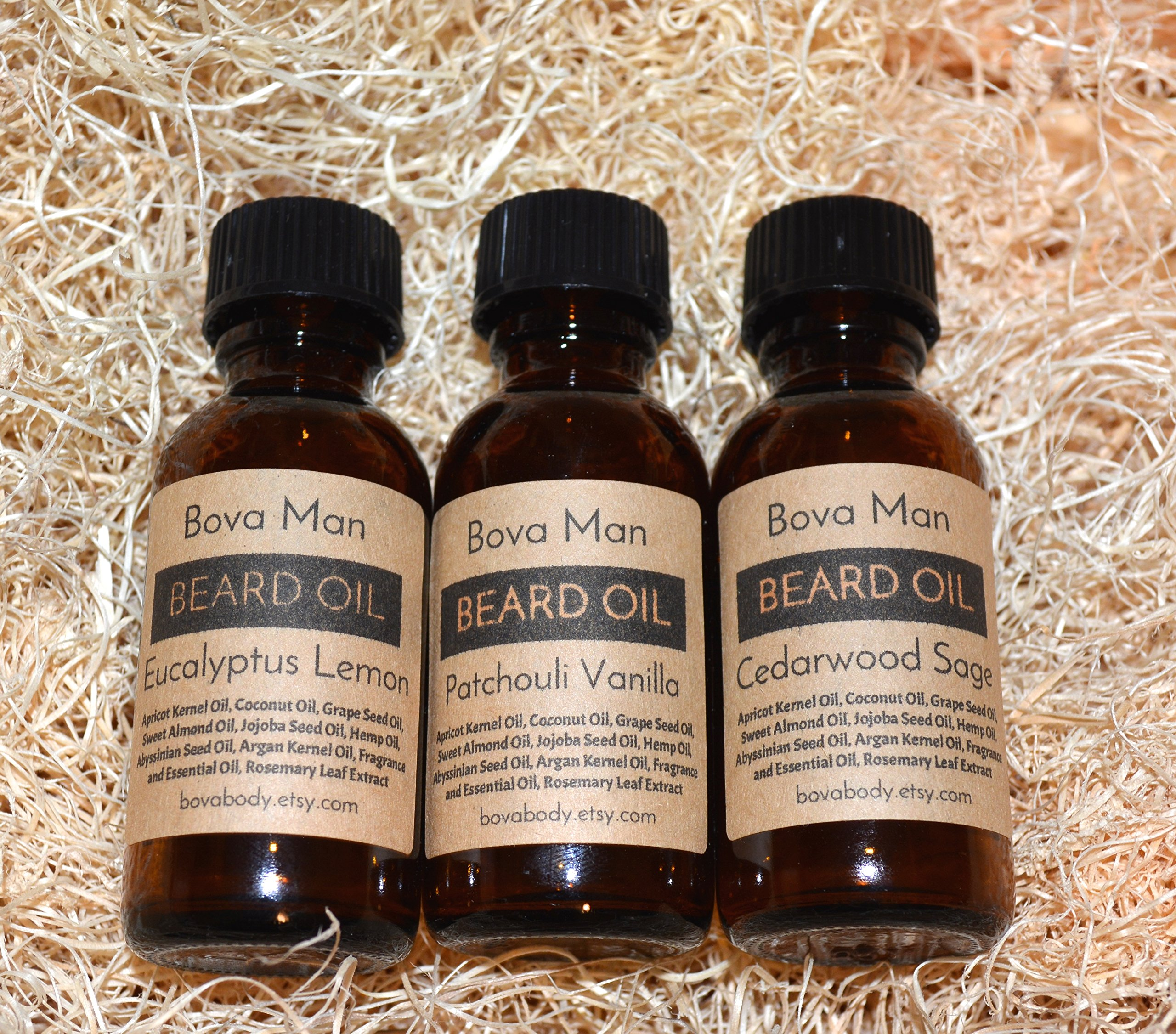 3 All Natural Beard Oils by Bova Body