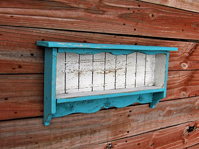distressed looking furniture. Turquoise Blue And White Distressed Wall Shelf, Key Hook, Decor, French  Country, Distressed Looking Furniture C