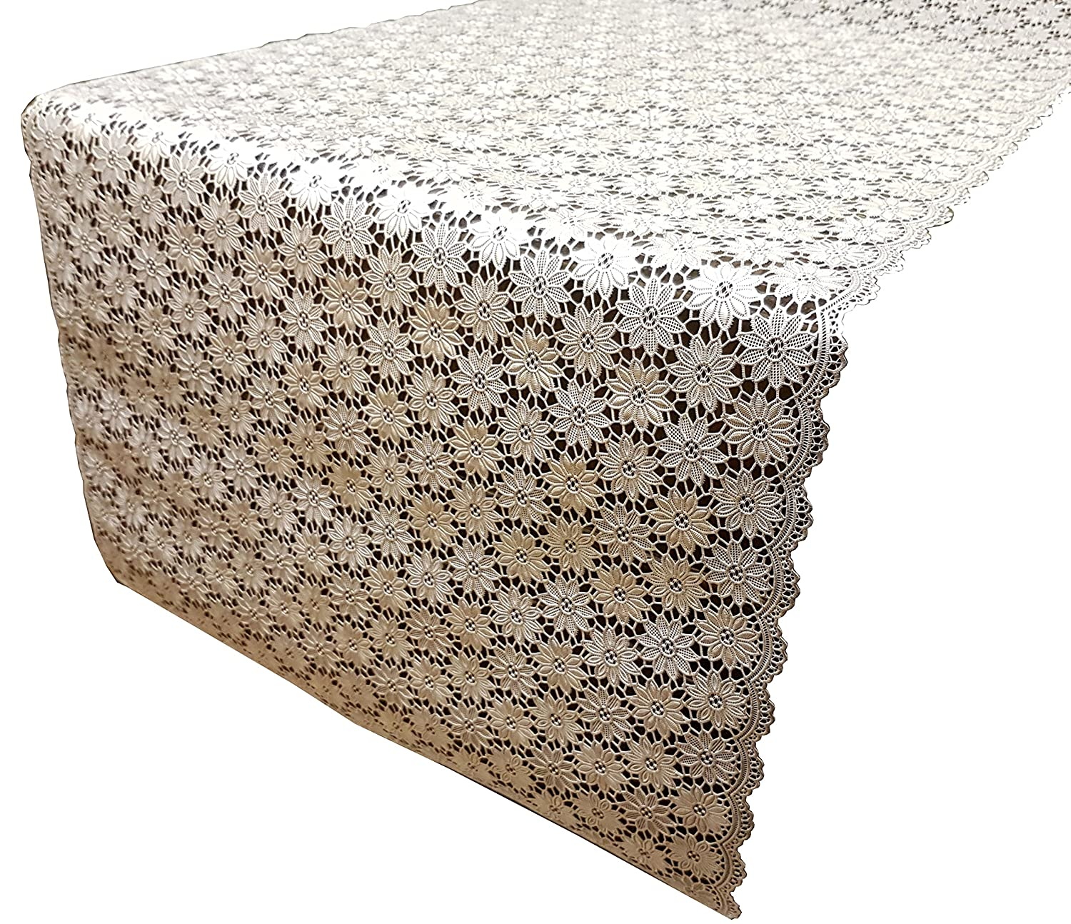 Wipe Clean 400cm x 50cm Vinyl // Plastic Textured Floral Pretty Lace Effect Flower PVC Table Runner Lace Daisy Silver 4 Metres
