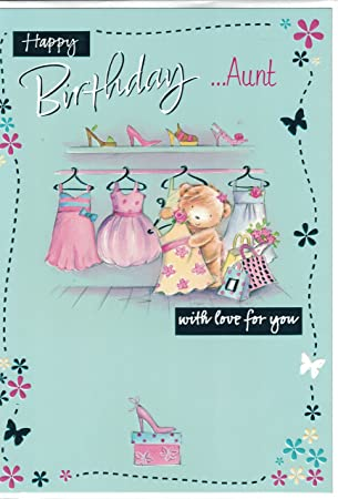 Auntie Birthday Card Happy Birthday Aunt Bear Dresses Amazon