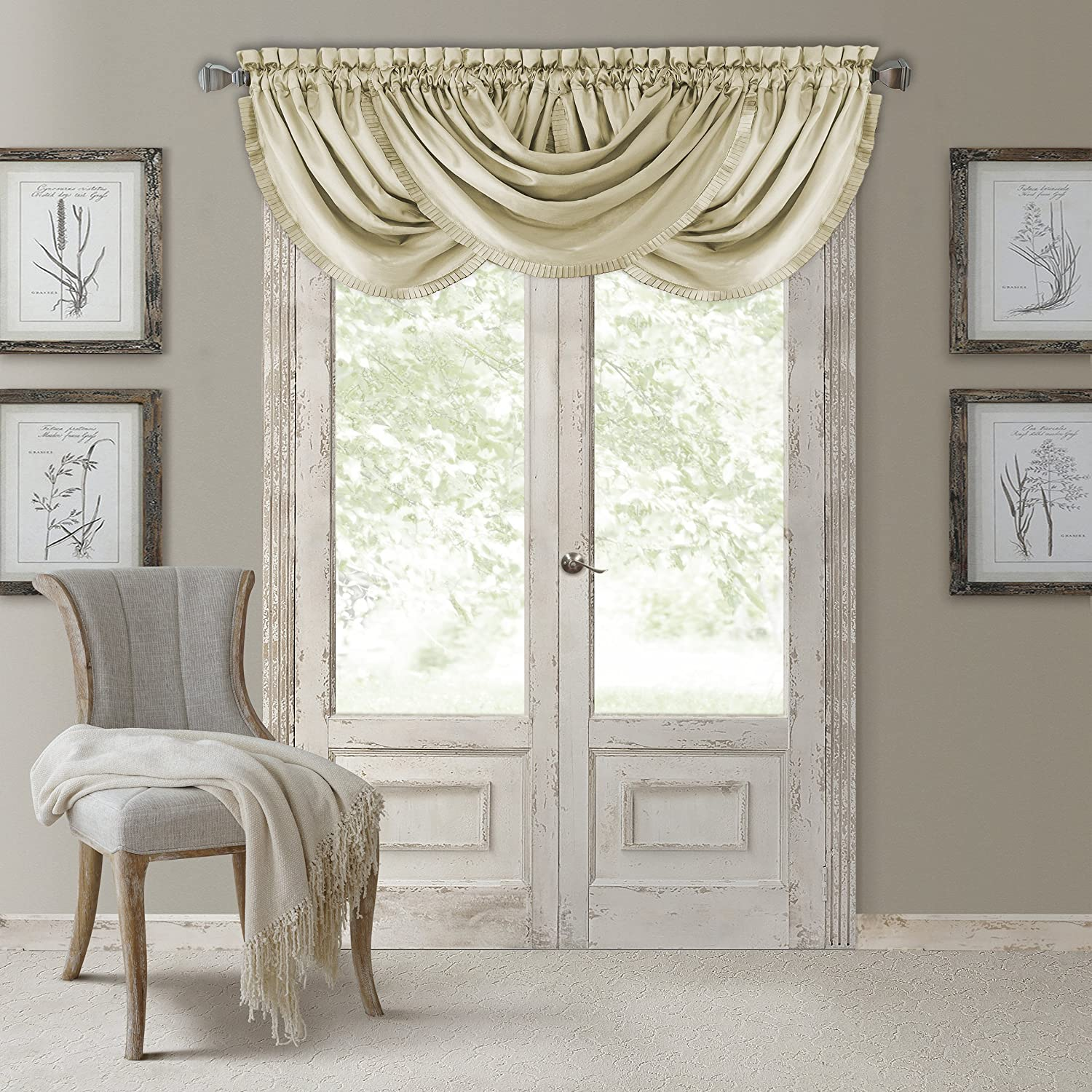 """Elrene Home Fashions Versailles Faux Silk Room Darkening & Energy Efficient Lined Rod Pocket Window Curtain Drape Pleated Solid Waterfall Valance, 52"""" x 36"""" (1, Ivory"""