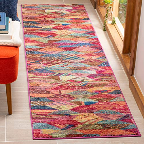 Safavieh Monaco Collection MNC245D Boho Abstract Patchwork Non-Shedding Stain Resistant Living Room Bedroom Area Rug