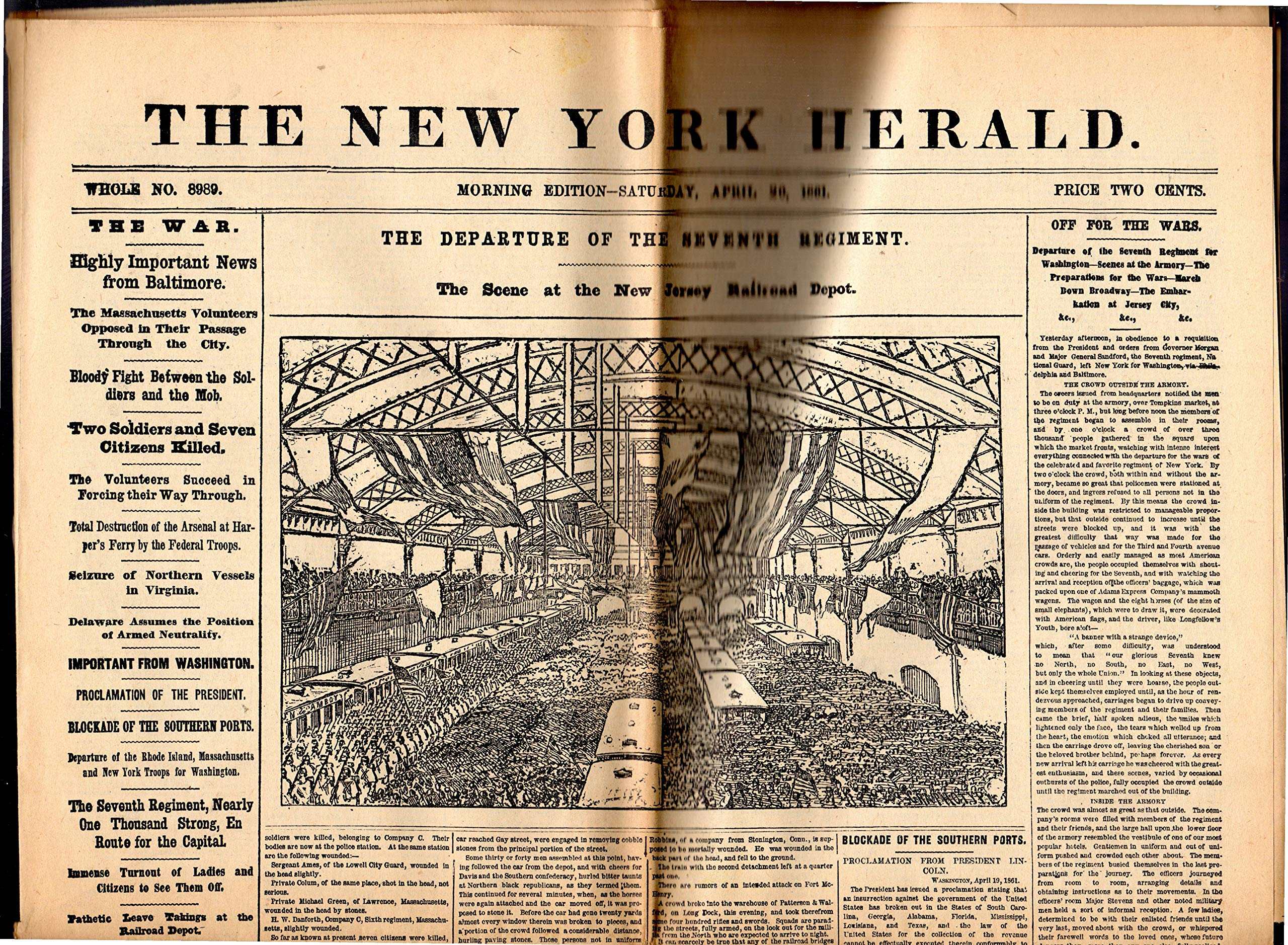 BROADWAY /& SIXTH JAMES GORDON BENNETT NEW YORK HERALD