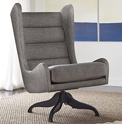 Tommy Hilfiger Helios Swivel Chair With Wingback Profile And Four Star Base  In Gray Linen