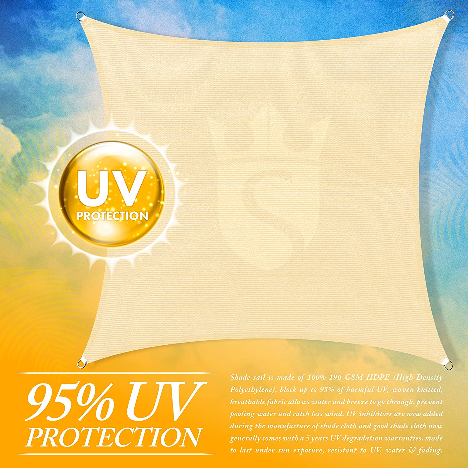 Royal Shade 12 x 12 Beige Square Sun Shade Sail Canopy Outdoor Patio Fabric Shelter Cloth Screen Awning We Make Custom Size 200 GSM 5 Years Warranty Heavy Duty 95/% UV Protection