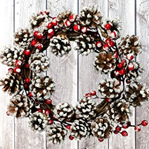 Christmas Berry Wreath with Frosted Pinecone- Front Door Décor with Red Berries and Pine Cones - Artificial Holiday Wreath 14 Inch