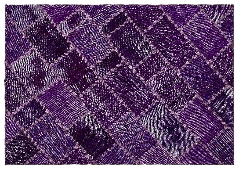 Bespoky パッチワークユニーク 手織 ラグ 紫の ミディアムサイズ 163 X 230 Cm   B07HKXWQ8Q