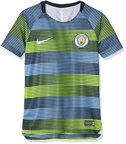 Amazon.com   NIKE 2018-2019 Man City Pre-Match Training Shirt (Volt-Blue) -  Kids   Sports   Outdoors 64fed6576