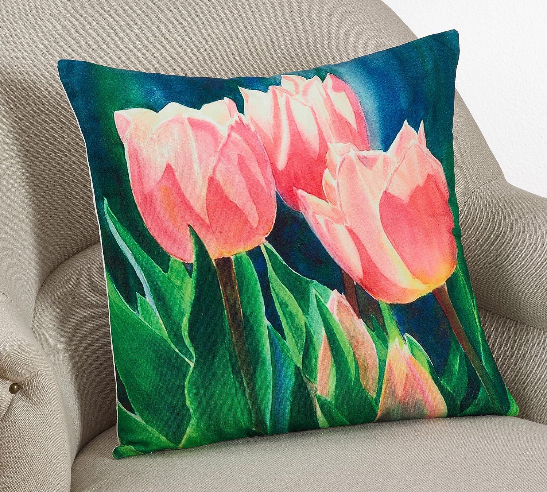 26 x 26 Square Floor Pillow Kess InHouse Li Zamperini Delicada Pink Tan