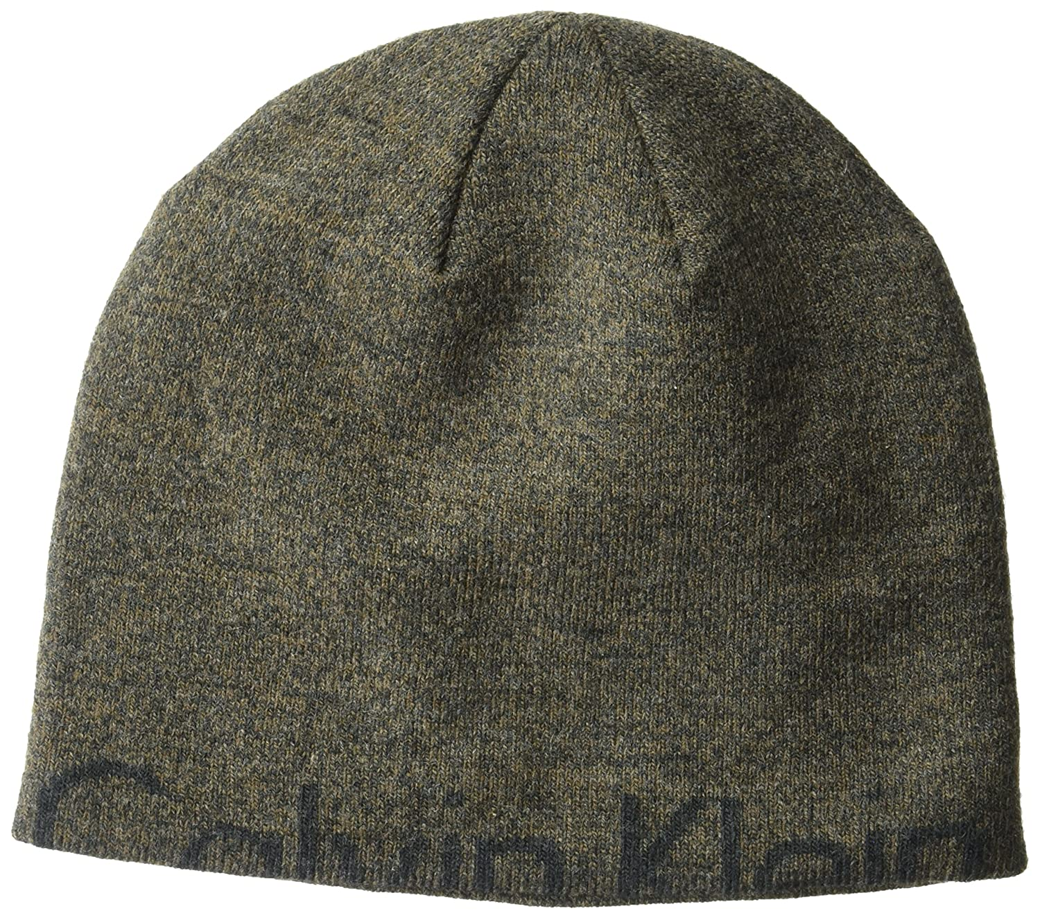 Calvin Klein Unisex Marled Half Logo Winter Hat, Brown, One Size HCKHT245