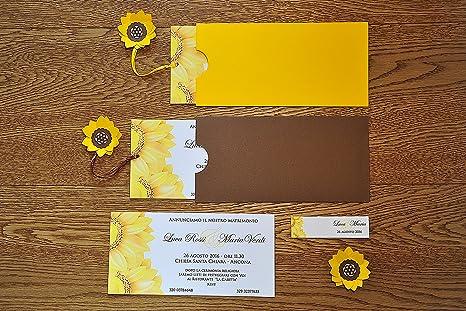 Partecipazioni Matrimonio Con Girasoli : 10 pz. partecipazioni matrimonio girasole: amazon.it: casa e cucina