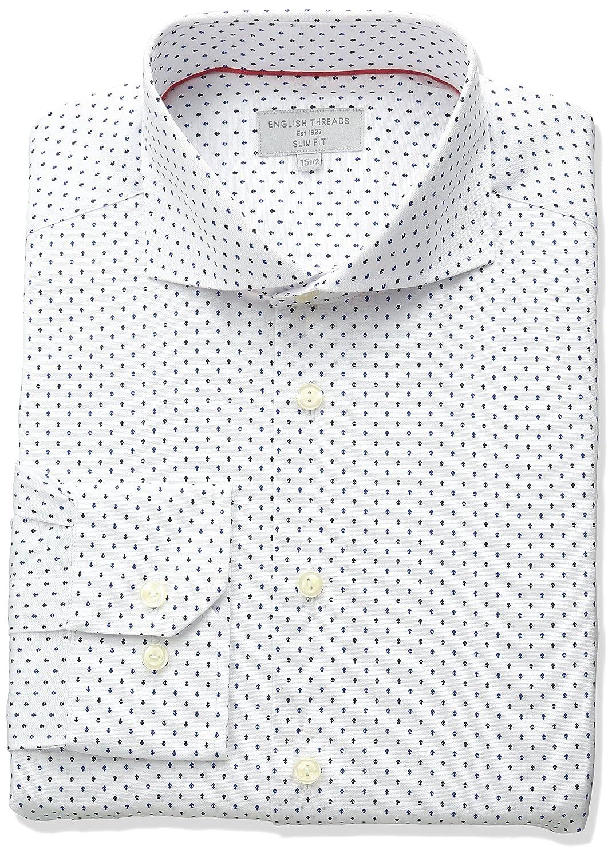 English Threads Mens Slim Fit White Arrow Dress Shirt