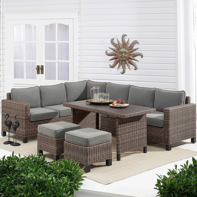Amazon Com Better Homes Gardens Brookbury 5 Piece Patio Wicker Sectional Set Grey Garden Outdoor