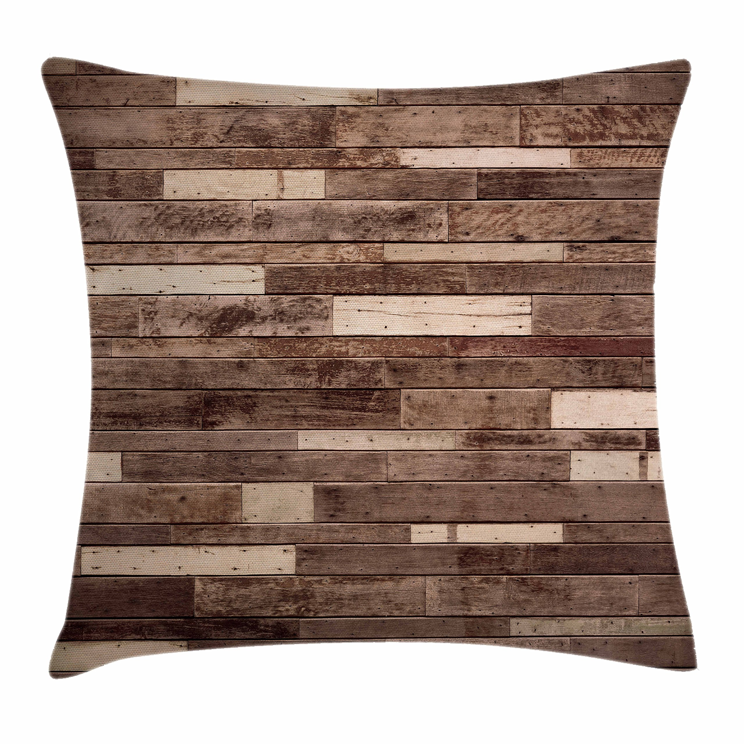 Ambesonne Wooden Throw Pillow Cushion Cover, Wall Floor Textured Planks Panels Picture Art Print Grain Cottage Lodge Hardwood Pattern, Decorative Square Accent Pillow Case, 40 X 40 inches, Brown
