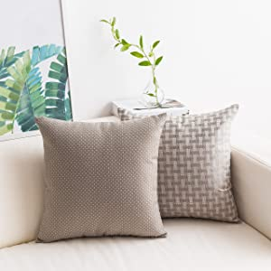 HOME BRILLIANT Pack of 2 Linen Pillowcases Dots and Checkers Woven Texture Decorative Cushion Cover Set Shell Throw Pillow Cover for Bench, 45cm x 45(18 inches), Taupe Mushroom Grey