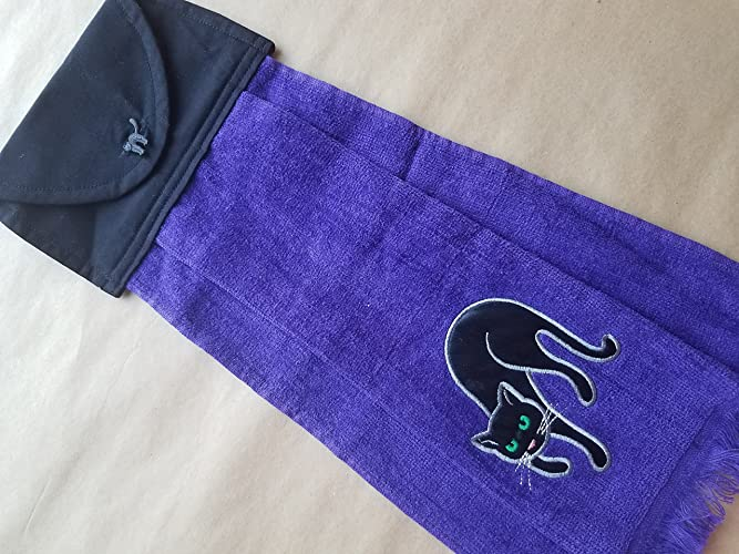 903d4fa81fbe1 Amazon.com: Halloween Black Cat Hanging Kitchen Towel, Purple Button ...