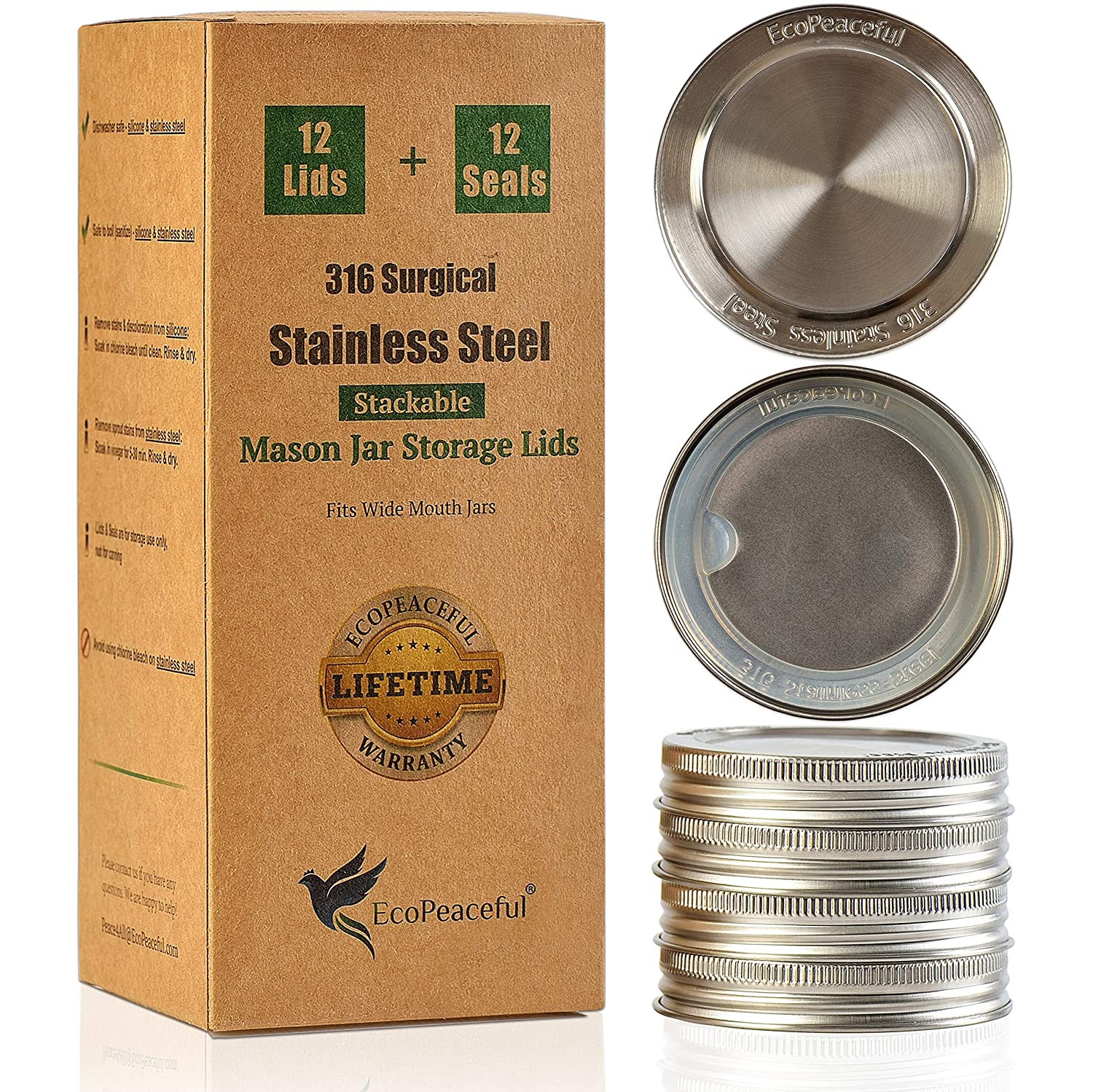 EcoPeaceful 12 Mason Jar Lids - 316 Surgical Stainless Steel Wide Mouth Mason Jar Lids. Leak-Proof Silicone Seal. Replacement for Canning Lids & Plastic Caps. Rust-free, BPA-free, PVC-free, Vinyl-free