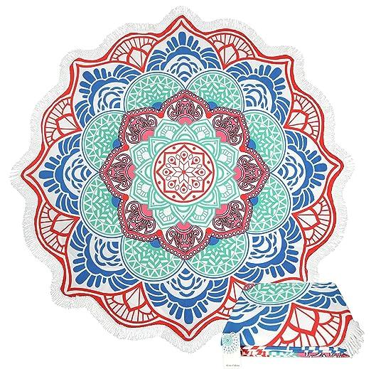 Leana Collection - Toalla de Playa Redonda con Flecos de Mandala Gruesa de algodón Extra Grueso para Yoga, Hippie o Playa, Regalo: Amazon.es: Hogar