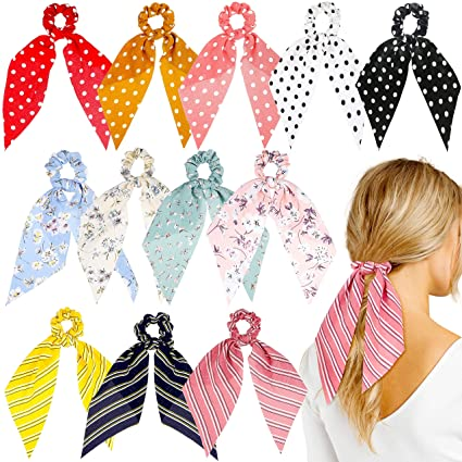 Watinc 12 Pcs Bowknot Hair Scrunchies Chiffon Floral Scrunchie Scarf Hair Ties 2 In 1 Vintage Ponytail Holder With Bows Flower Stripe Hair Scrunchy Accessories Ropes For Women by Watinc