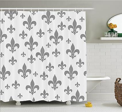 Ambesonne Fleur De Lis Decor Shower Curtain Set, Ethnic Lily Pattern  Classic Retro Royal Vintage