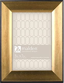 malden international designs copley picture frame with black boarder 5x7 gold