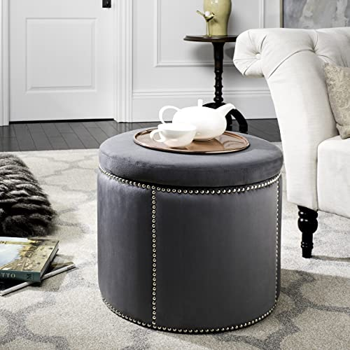 Safavieh Mercer Collection Kyle Grey Nailhead Round Storage Ottoman