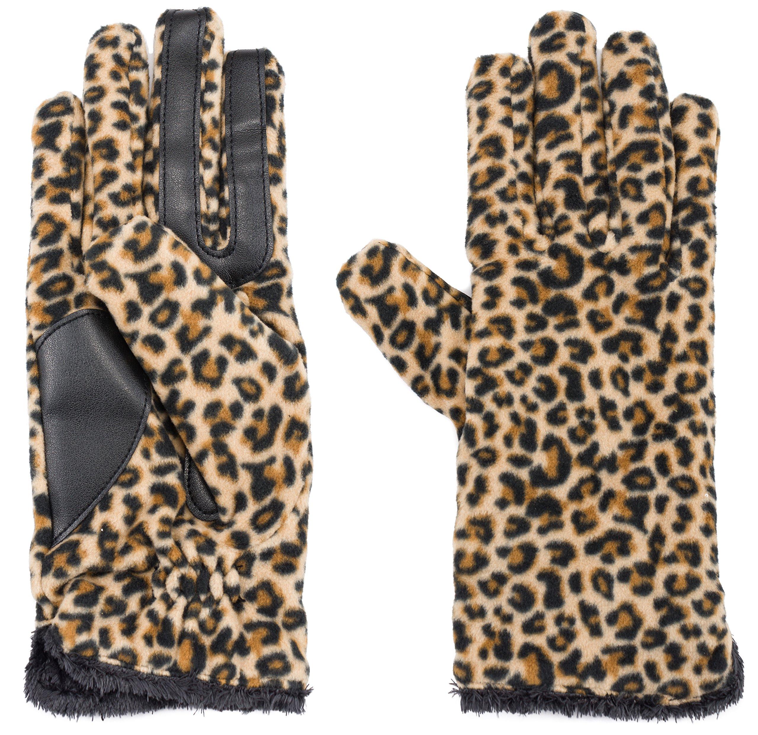 Isotoner Women's Smartouch Fleece Leopard One Size